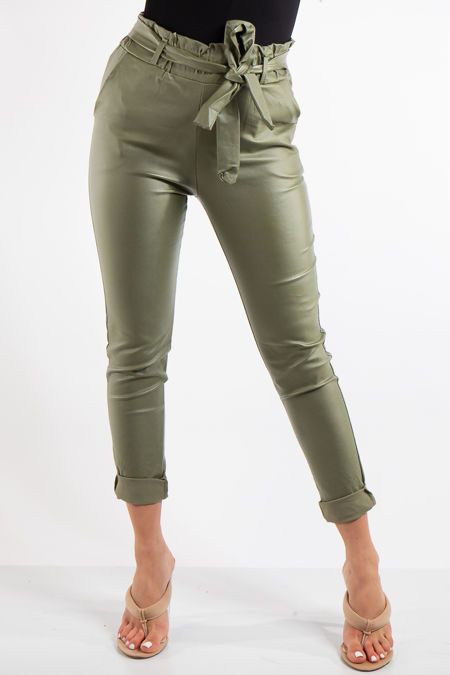 Monroe Khaki Faux Leather Coated Matt Paperbag Trousers