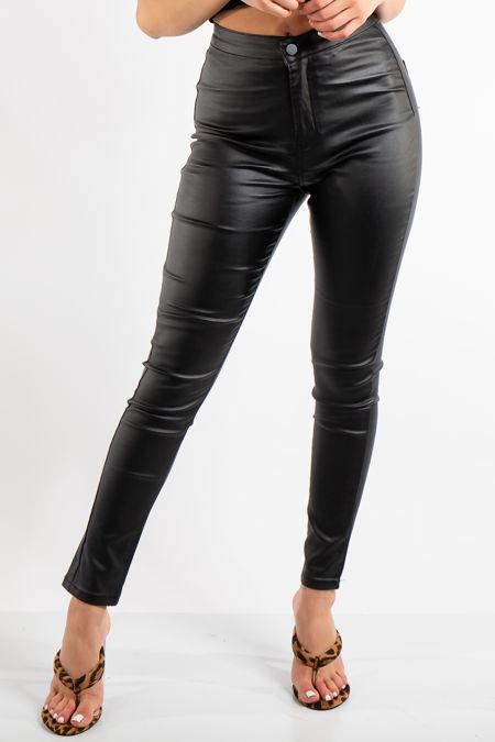 Aurelia Black Coated Denim Skinny Jeans