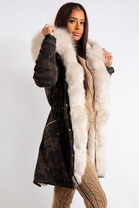 Amani Camo Faux Fur lined Hooded Parka Coat