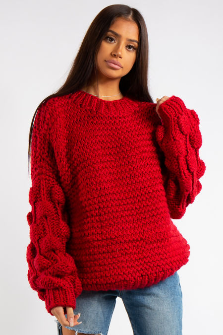 Emmeline Red Luxury Super Thick Cable Knit Jumper