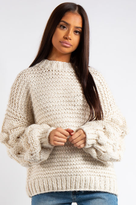 Emmeline Cream Luxury Super Thick Cable Knit Jumper