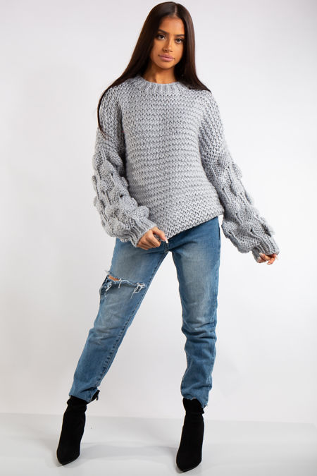 Emmeline Grey Luxury Super Thick Cable Knit Jumper-Copy