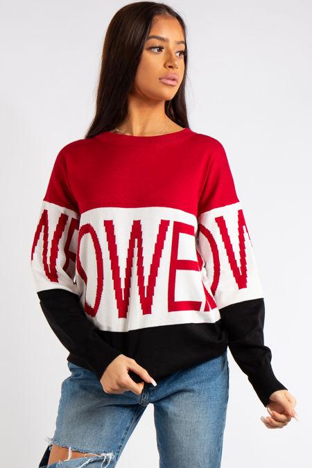Erika Power Slogan Crew Neck Knitted Jumper