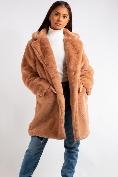 Marianna Camel Faux Fur Coat