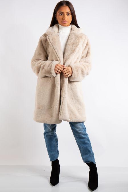 Marianna Cream Faux Fur Coat