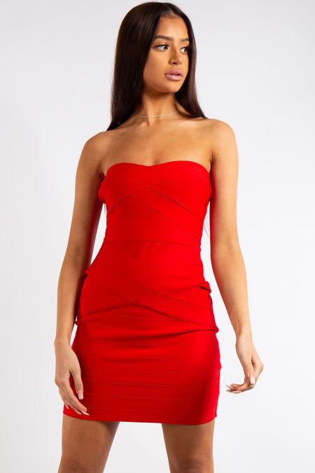 Sariah Red Bandage Strapless Mini Dress