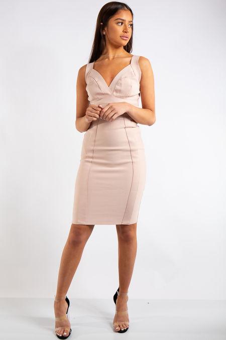 Lina Nude Bandage Panelled Midi dress