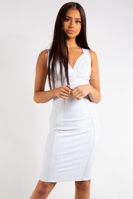Lina White Bandage Panelled Midi dress