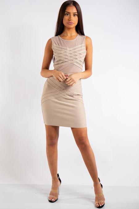 Simone Beige Bandage Mesh Design Mini Dress