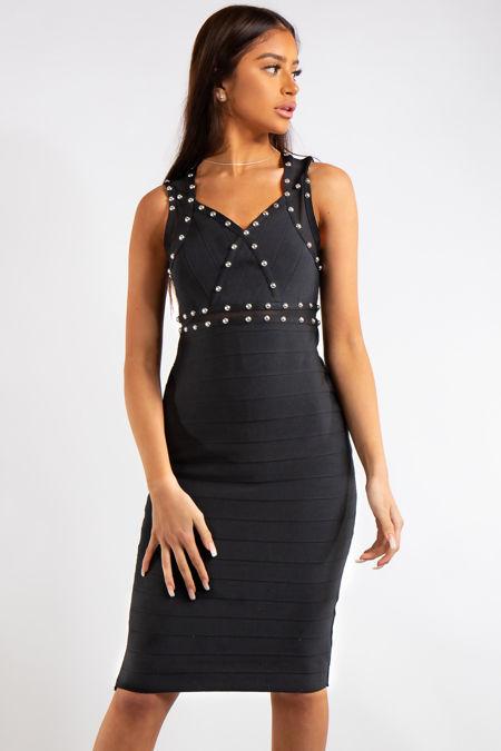 Martha Black Bandage Stud Detail Midi Dress
