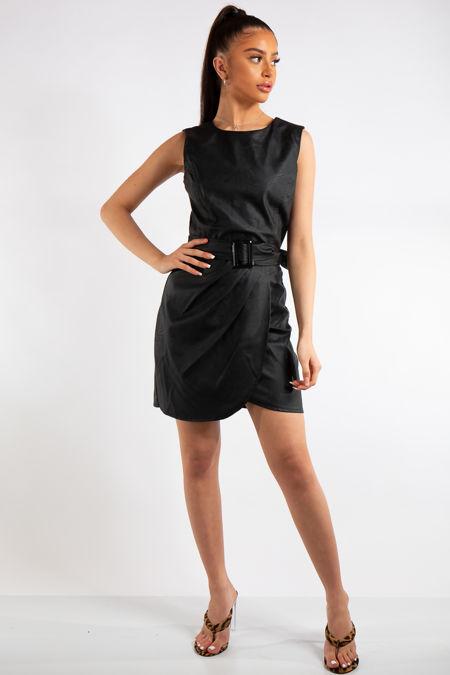 Mikaela Black Faux Leather Dress