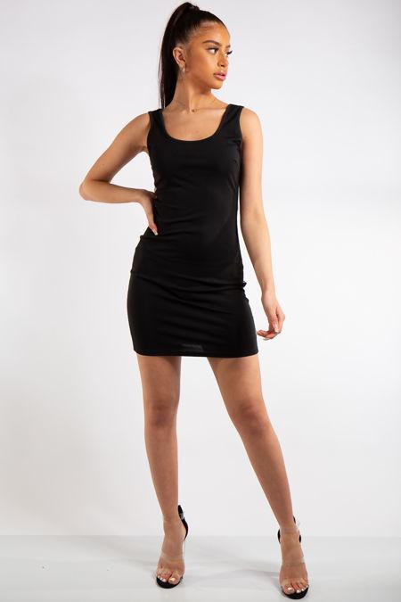 Milana Black Reflective Stripe Bodycon Mini Dress