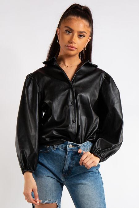 Briar Black Faux Leather Shirt