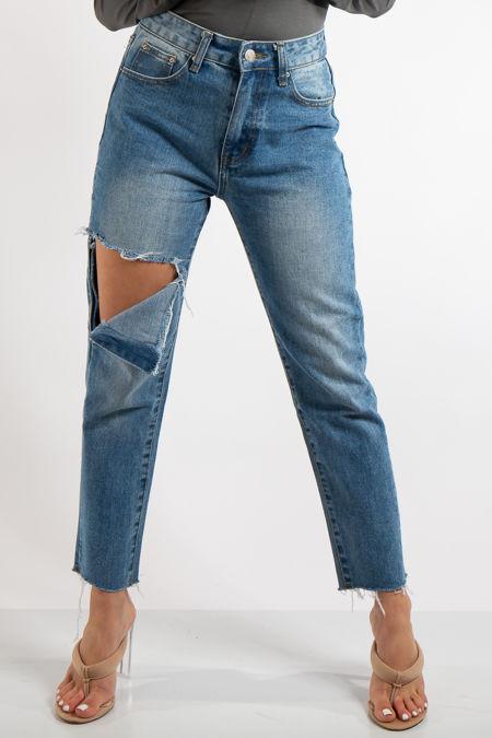 Elsa Denim Ripped Knee Frayed Hem Mom Jeans