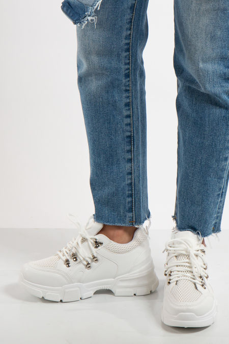 Elyse White Chunky Panelled Detail Trainers