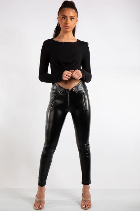 Aliza Black PU Elasticated Zip & Button Detail Leggings