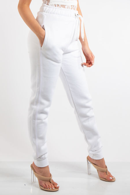 Kaylani White Casual Fitted Joggers