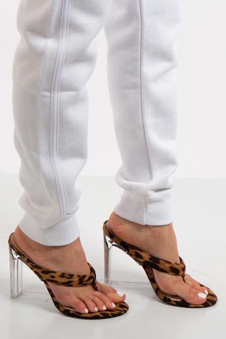 Kim Leopard Clear Heeled Sandals