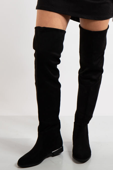 Poppy Black Faux Suede Flat Thigh Boots