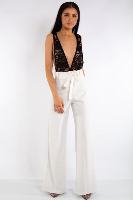 White & Black Crochet Detail Jumpsuit
