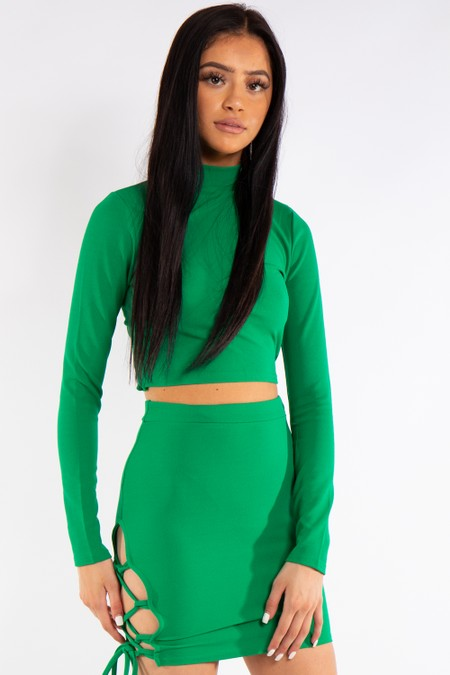 Green Lace Up Two Piece Co-ord Set