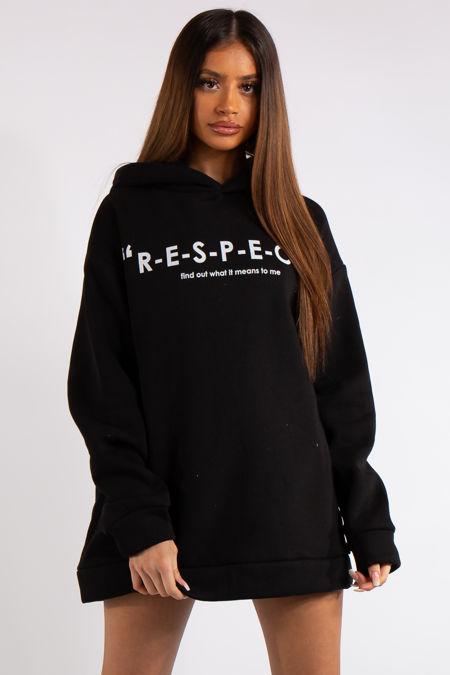 RESPECT Black Slogan Oversized Hoodie
