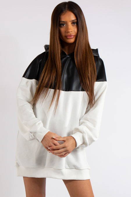 Christine Black PU and White Fashion Oversized Hoodie