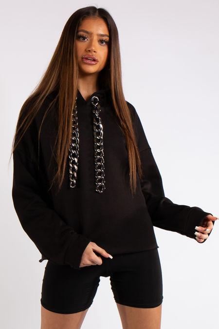 Lexi Black Chunky Chain Hoodie