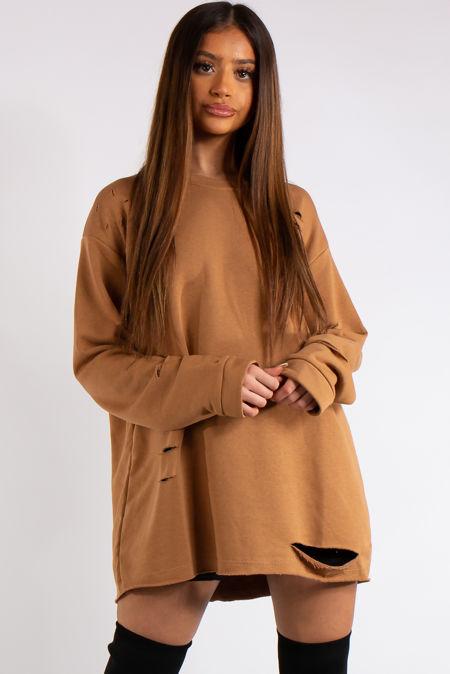 Thalia Camel Longline Distressed Sweatshirt