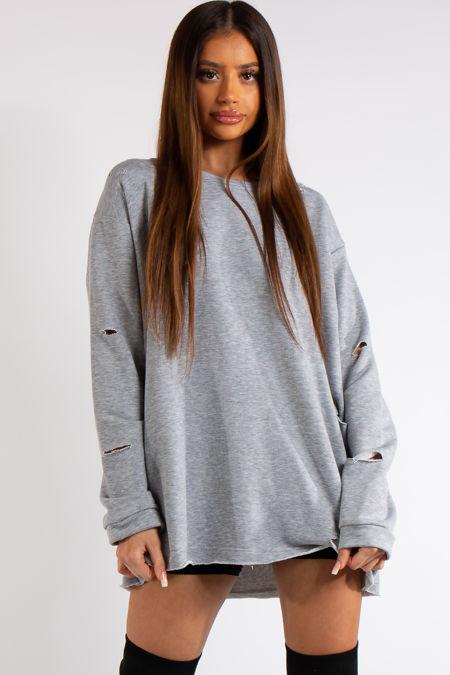 Thalia Grey Longline Distressed Sweatshirt