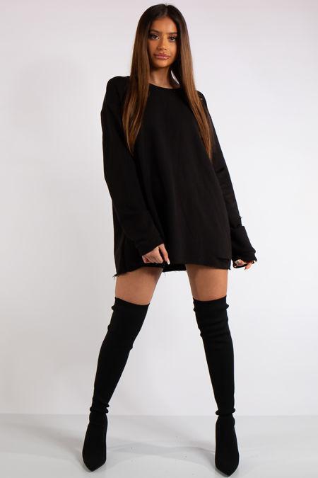 Thalia Black Longline Distressed Sweatshirt