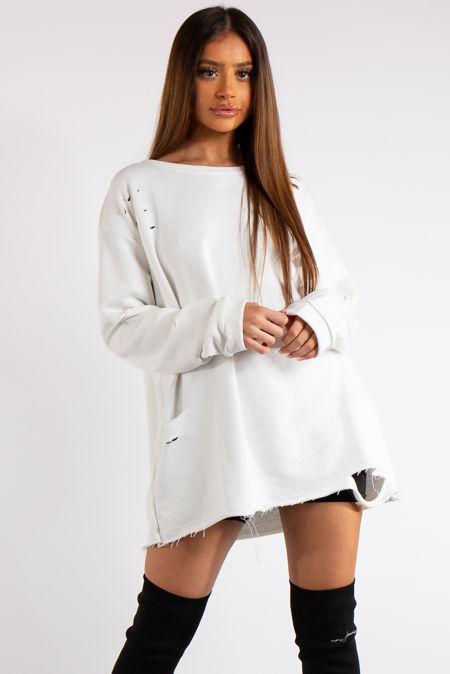Thalia White Longline Distressed Sweatshirt