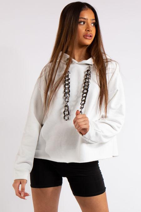 Lexie White Chunky Chain Hoodie