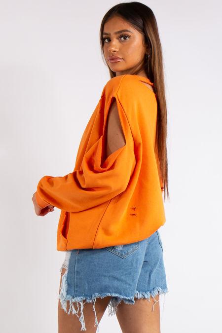 Annabel Orange Cold Shoulder Distressed Oversized Sweatshirt
