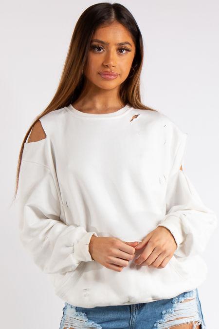 Annabel White Cold Shoulder Distressed Oversized Sweatshirt