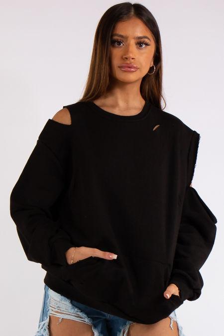 Annabel Black Cold Shoulder Distressed Oversized Sweatshirt