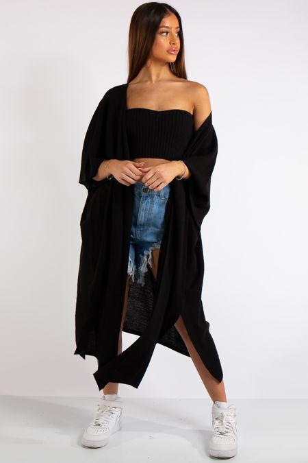 Keyla Black Oversized Longline Thin Knit Cardigan