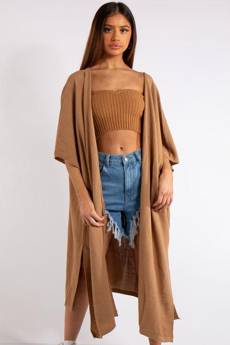 Keyla Camel Oversized Longline Thin Knit Cardigan