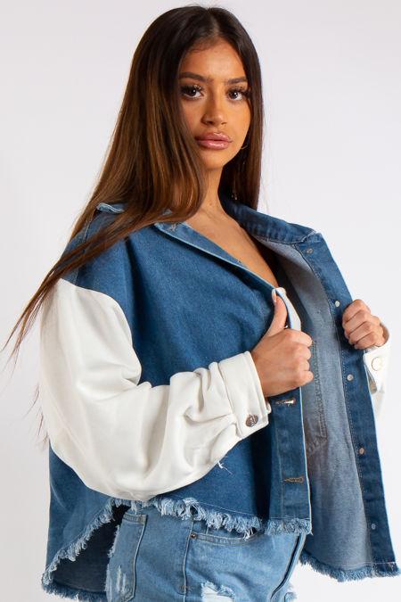 Raina Blue Denim & Jersey Sleeve Combo Frayed Denim Jacket