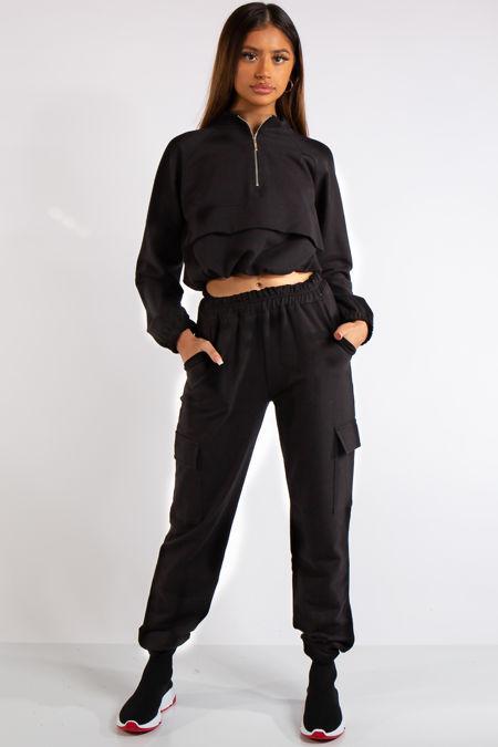 Zaria Black Pocket & Zip Detail Loungewear Set