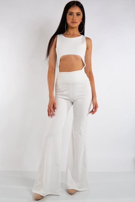 White Cut Out Jumpsuit