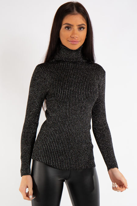 Alicia Black Knit Sparkly Ribbed Turtle Neck Top