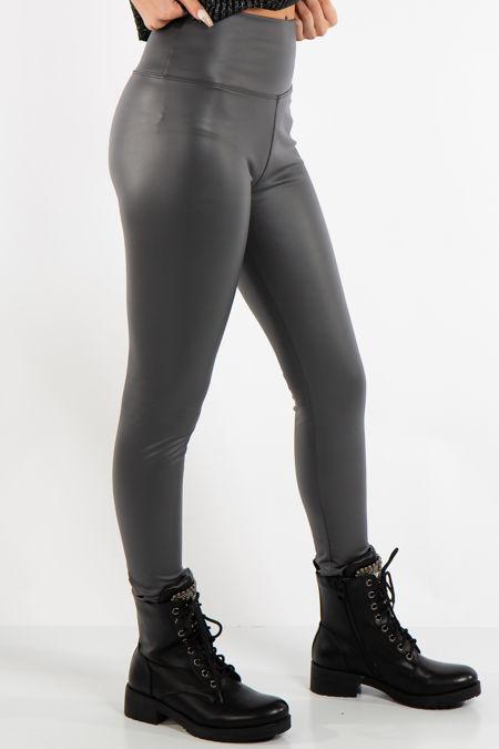 Athena Grey High Waist Faux Leather Skinny Leggings