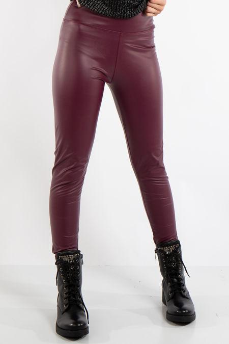 Athena Dark Red High Waist Faux Leather Skinny Leggings