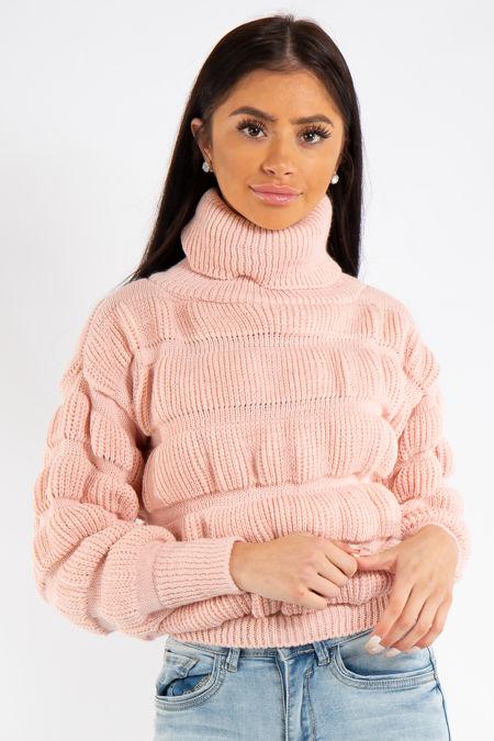 Haley Pink Short Bobbled Front Knit Jumper