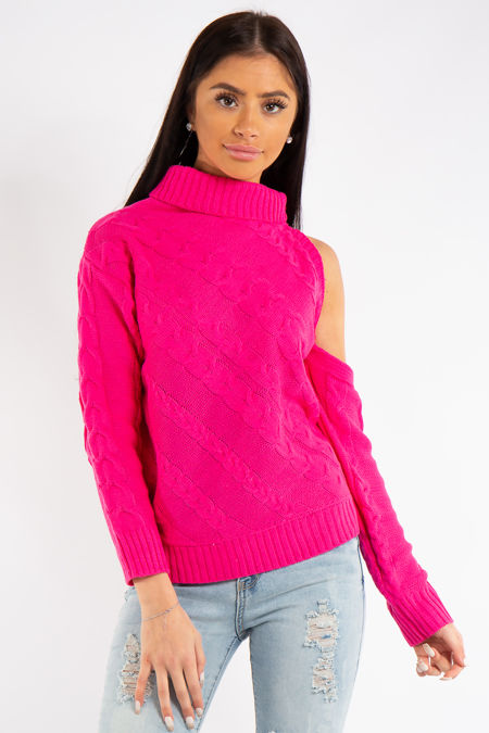 Kylee Neon Pink One Shoulder Cable Knit Jumper