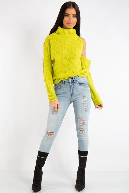 Kylee Neon Lime One Shoulder Cable Knit Jumper