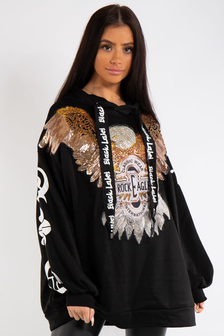 Phoenix Black Rock Eagle Sequin Embellishment Hooded Jumper