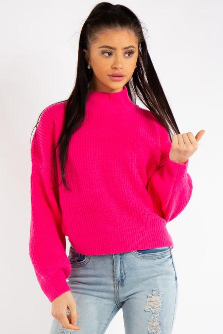 Kira Pink High Neck Soft Jumper
