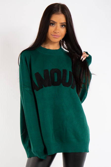 Evie Green Amour Crew Neck Knitted Jumper